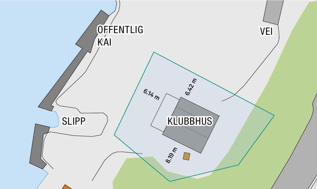 Kart over klubbtomt